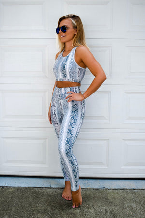 Blue Medusa Snake Print Leggings