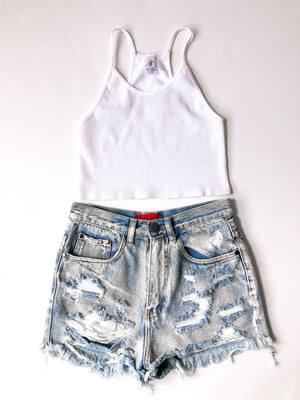 Easy Goin Crop Top- White