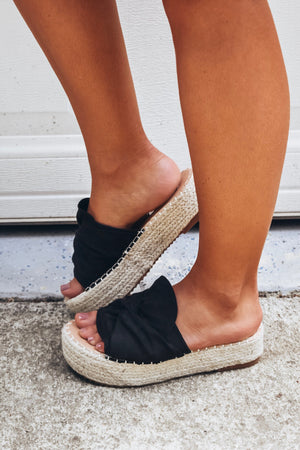 Black Platform Espadrille Sandals