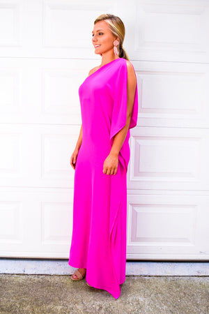 Hot Pink One Shoulder Maxi Dress