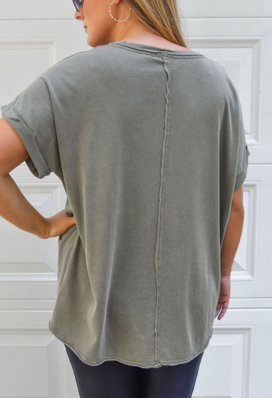 Olive Mineral Wash Oversized Tee