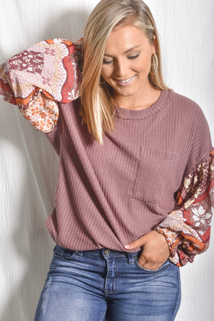Contrast Sleeve Waffle Knit Top- Multi