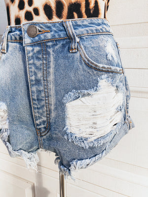 My Oh My Denim Cut Off Shorts - Light wash