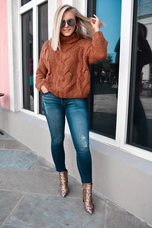 Turtleneck Knit Sweater- Camel