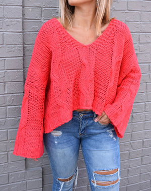 Miss Americana Cropped Sweater- Coral