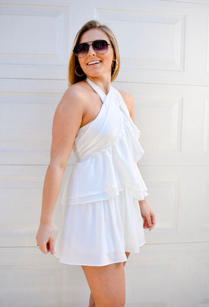 The Cameron Halter Dress- White