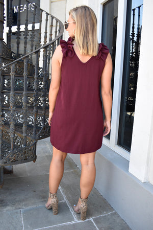 The Mallory Ruffle Dress- Burgundy