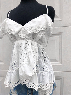 Ruffle Eyelet Wrap Tank- Off White