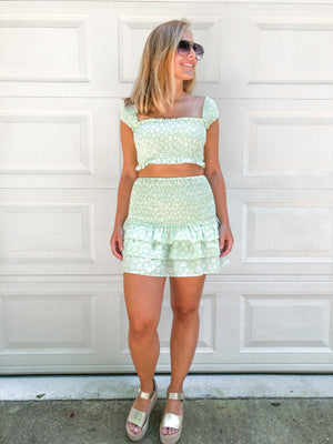 The Kylie Smocked Crop Top- Mint