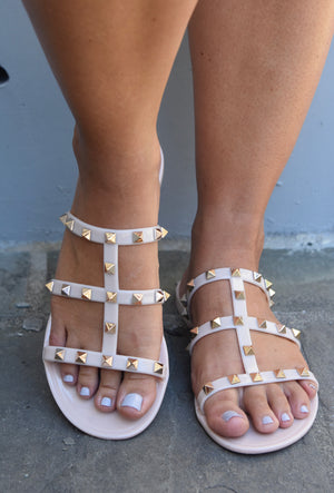 Regan Studded Sandals- Nude