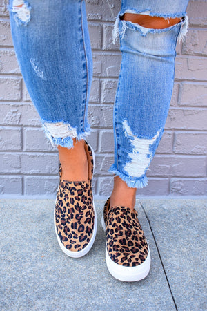 Leopard Slip On Sneakers- size 5