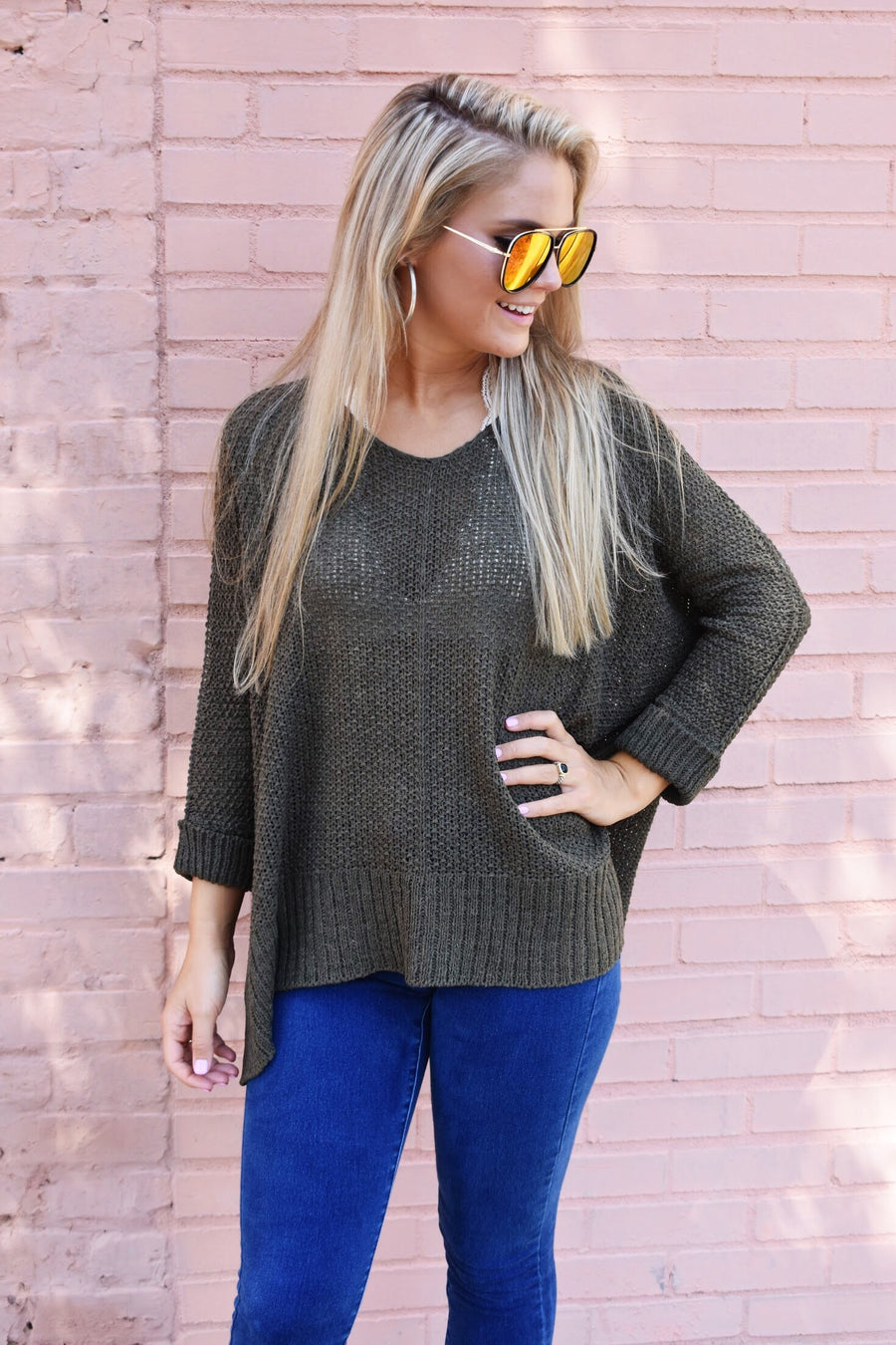 Fall Vibes Sweater- Olive