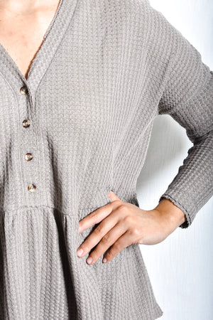Kylie Waffle Knit Top- Taupe