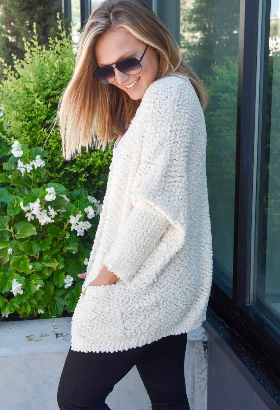 The Cuddle Me Cardigan- Cream