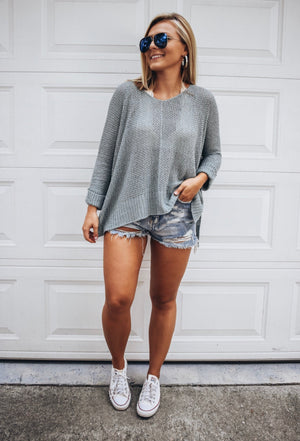 Fall Vibes Sweater- Grey Mint