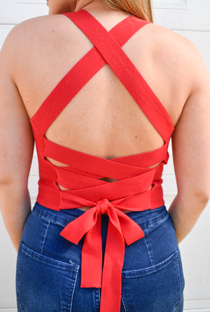The Roxy Crop Top- Red