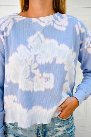 Acid Wash Waffle Knit Pullover