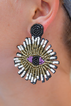Black and gold eye statement earrings