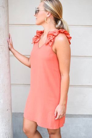 The Mallory Ruffle Dress - Rust