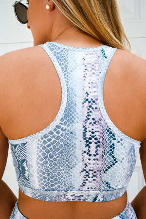 Blue Medusa Racerback Sports Bra