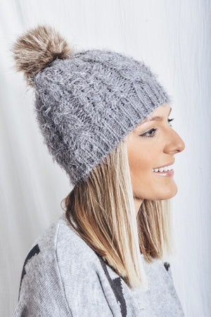 Avery Pom Pom Beanie - light grey