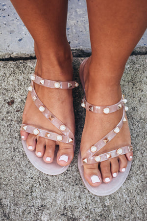Nude Studded Jelly Slides