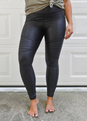 High Waisted Foil Moto Leggings