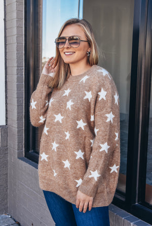 Star Sweater- Tan/white