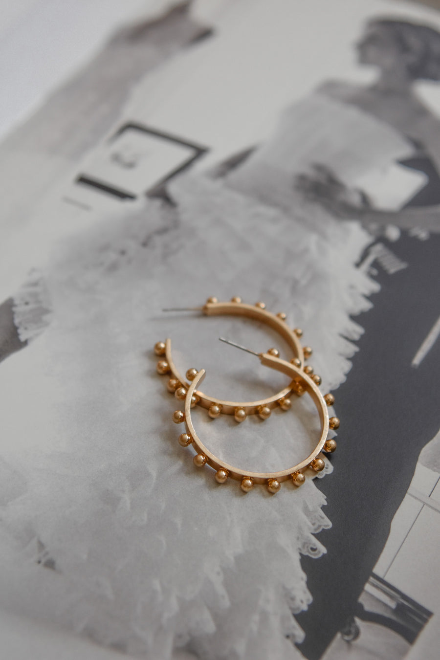 Worn Gold Stud Hoops