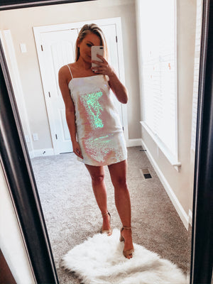 Disco Dress- Opal/White