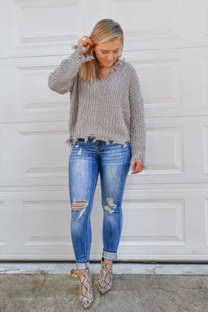 Dale Distressed V-neck Sweater