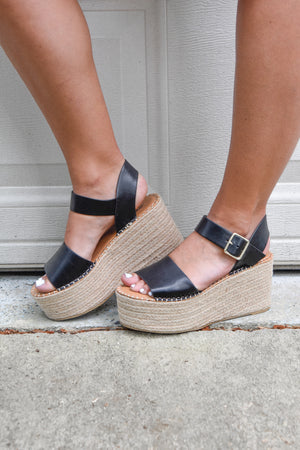 Black Espadrille Wedges
