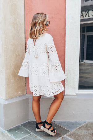 Bell Sleeve Eyelet Dress - Natural