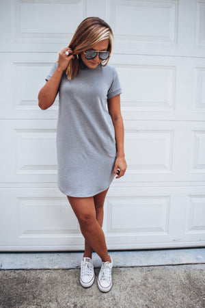 Comfy T-shirt Dress - Grey