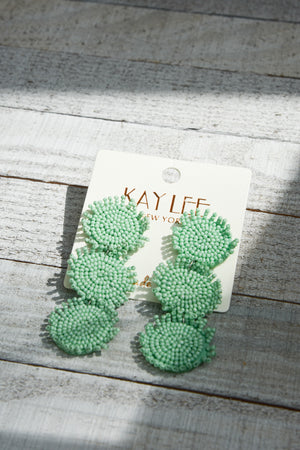 3 Beaded Disk Earrings - 3 Colors