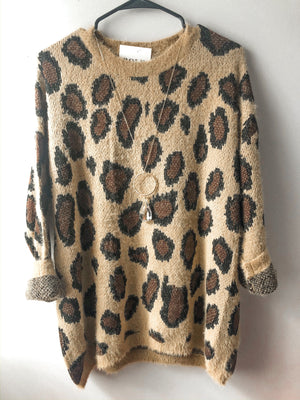 Miss Me More Sweater- Cheetah