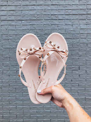 Joanie Studded Sandals - Nude