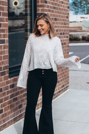 Leopard Mock Neck Cropped Sweater- Taupe