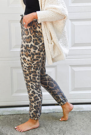 Brushed Leopard Print Joggers