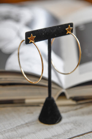 Simple Star Gold Hoops