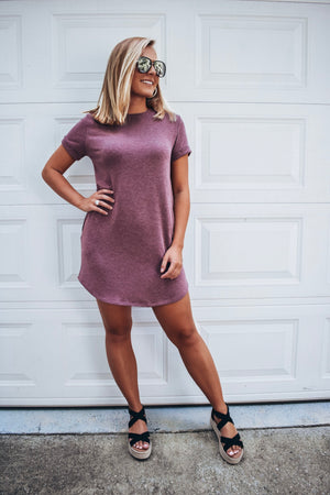 Comfy T-shirt Dress- Burgundy