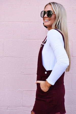 Over It Overall Mini Dress - Maroon