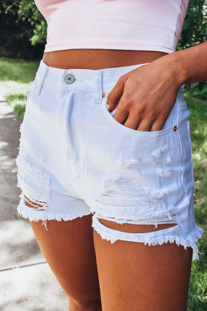 Spring Forward White Denim Shorts