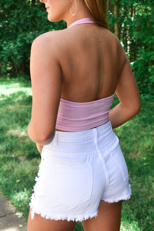 Light Pink Halter Crop Top