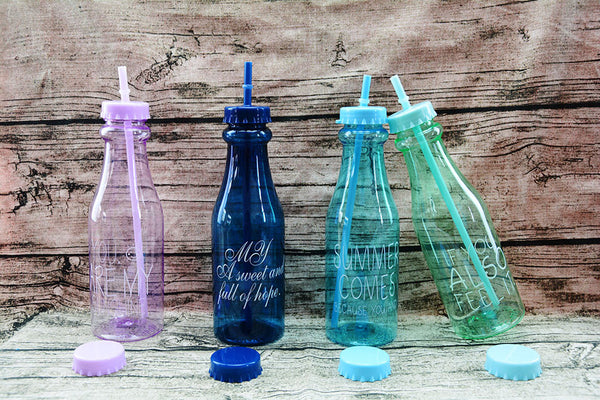 Water Bottle with Straw (650ml; 4 Colors)