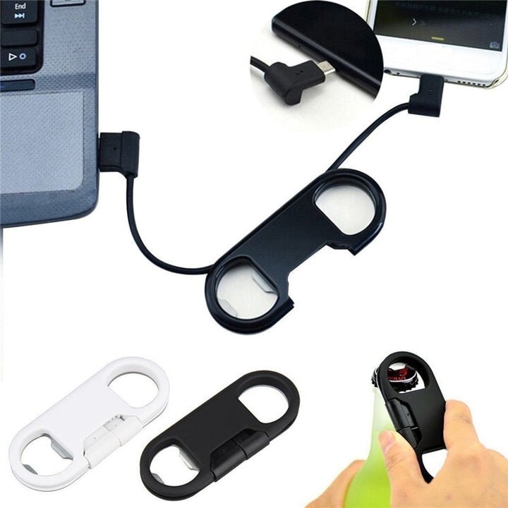 3 in 1 USB Charger Charging Cable For Android&iPhone + Key Chain + Bottle Opener