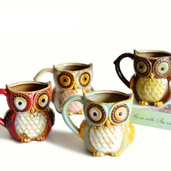 Xmas Gift 3D Animal Cute Owl Mugs 300ml