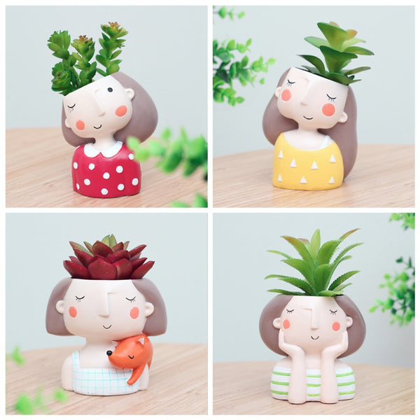 Cute Girl Flower Planter Flowerpot