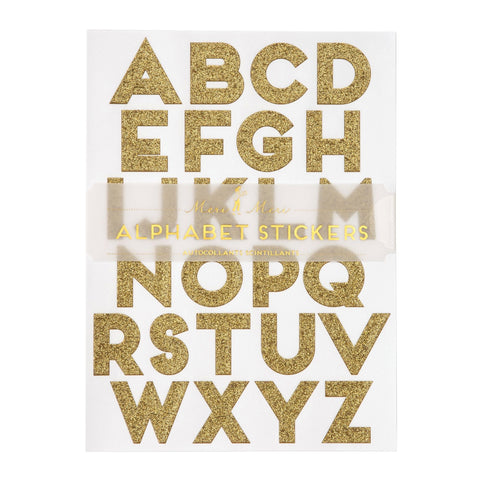 Gold Glitter Alphabet Sticker Sheets