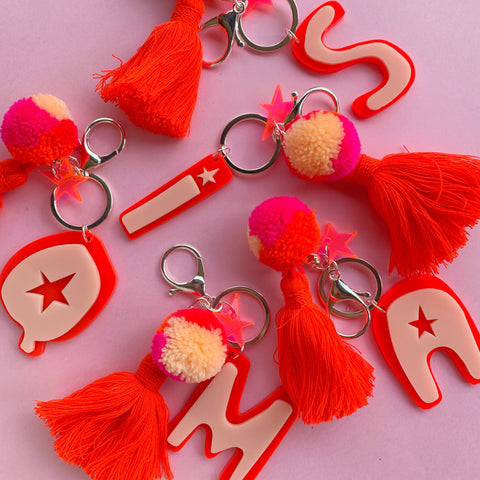 Hello Kit Co. x Emeldo Alphabet Keyring - Ned Red + Pink